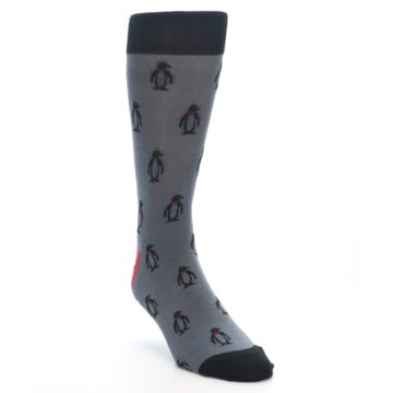 Image of Grey Black Penguin Men's Dress Socks (side-1-front-02)