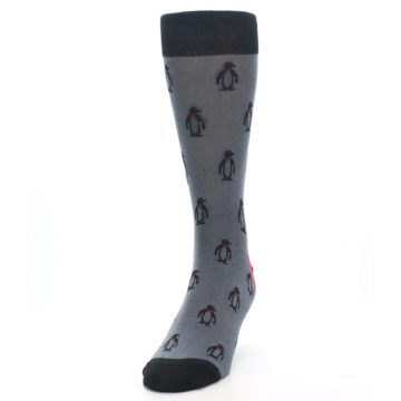 Image of Grey Black Penguin Men's Dress Socks (side-2-front-06)