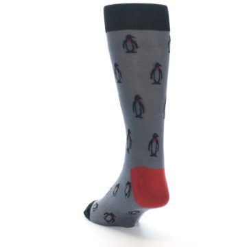 Image of Grey Black Penguin Men's Dress Socks (side-2-back-16)