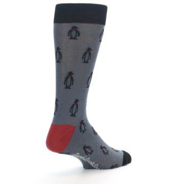 Image of Grey Black Penguin Men's Dress Socks (side-1-back-22)