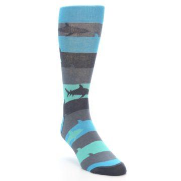 Image of Grey Aqua Sharks Men's Dress Socks (side-1-front-02)