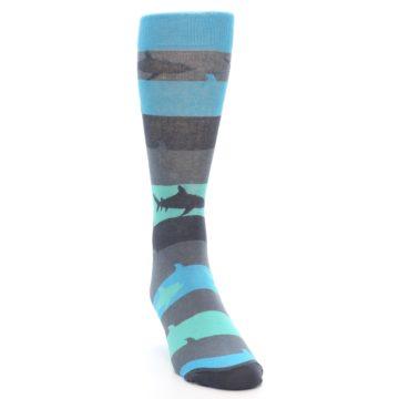 Image of Grey Aqua Sharks Men's Dress Socks (side-1-front-03)