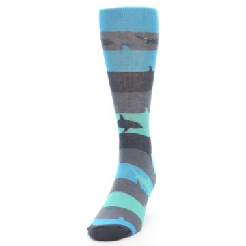 Image of Grey Aqua Sharks Men's Dress Socks (side-2-front-06)