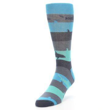 Image of Grey Aqua Sharks Men's Dress Socks (side-2-front-07)