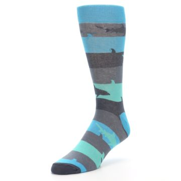 Image of Grey Aqua Sharks Men's Dress Socks (side-2-front-08)