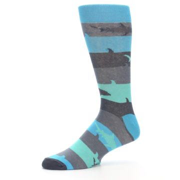 Image of Grey Aqua Sharks Men's Dress Socks (side-2-10)