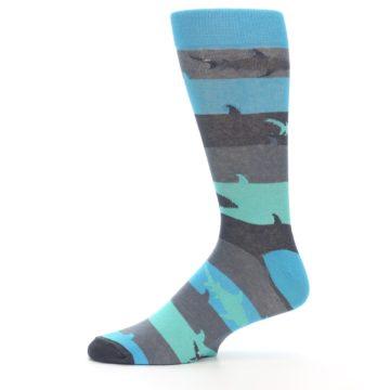 Image of Grey Aqua Sharks Men's Dress Socks (side-2-11)