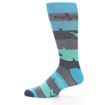 Image of Grey Aqua Sharks Men's Dress Socks (side-2-12)