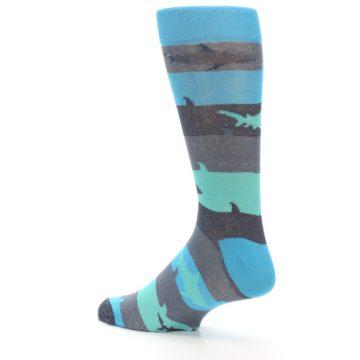 Image of Grey Aqua Sharks Men's Dress Socks (side-2-back-14)