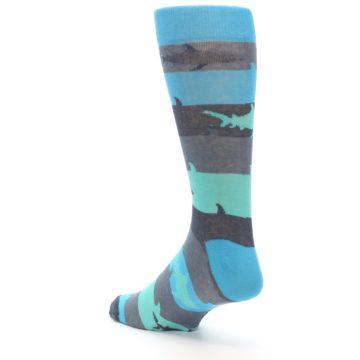 Image of Grey Aqua Sharks Men's Dress Socks (side-2-back-15)