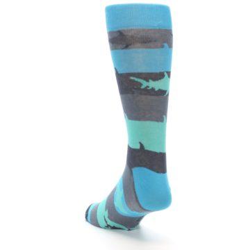 Image of Grey Aqua Sharks Men's Dress Socks (side-2-back-16)