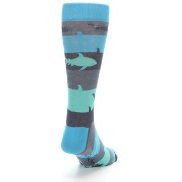 Image of Grey Aqua Sharks Men's Dress Socks (side-1-back-20)