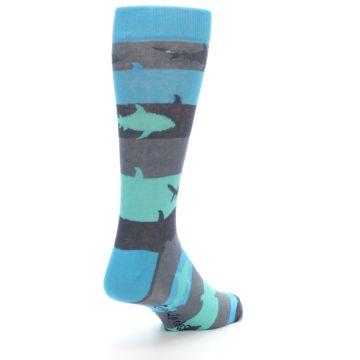 Image of Grey Aqua Sharks Men's Dress Socks (side-1-back-21)