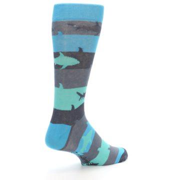 Image of Grey Aqua Sharks Men's Dress Socks (side-1-back-22)