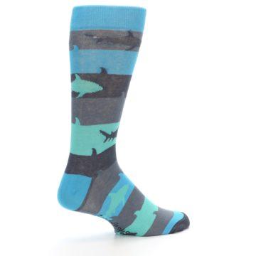 Image of Grey Aqua Sharks Men's Dress Socks (side-1-23)