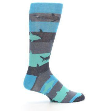 Image of Grey Aqua Sharks Men's Dress Socks (side-1-24)