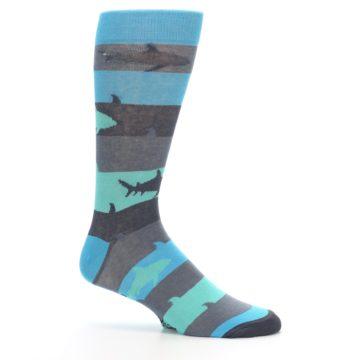 Image of Grey Aqua Sharks Men's Dress Socks (side-1-25)