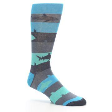 Image of Grey Aqua Sharks Men's Dress Socks (side-1-26)