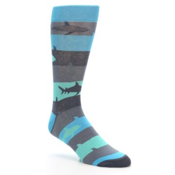 Image of Grey Aqua Sharks Men's Dress Socks (side-1-27)