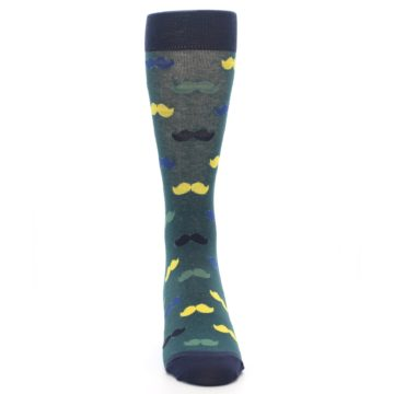 Image of Green Yellow Mustache Men's Dress Socks (front-04)