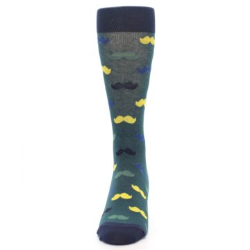 Image of Green Yellow Mustache Men's Dress Socks (front-05)