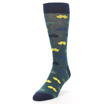 Image of Green Yellow Mustache Men's Dress Socks (side-2-front-07)