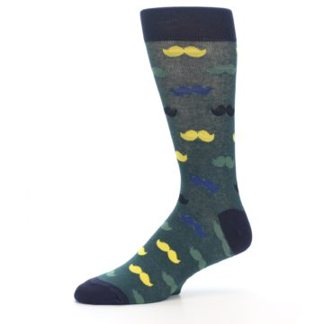 Image of Green Yellow Mustache Men's Dress Socks (side-2-10)