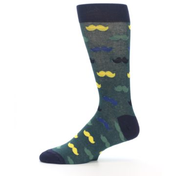 Image of Green Yellow Mustache Men's Dress Socks (side-2-11)