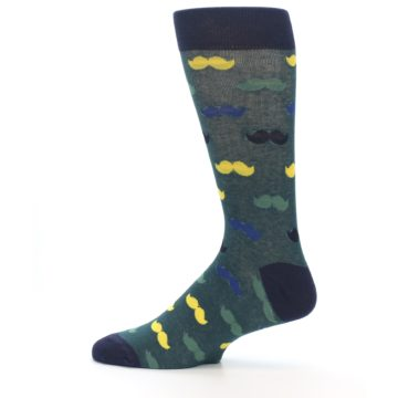 Image of Green Yellow Mustache Men's Dress Socks (side-2-12)