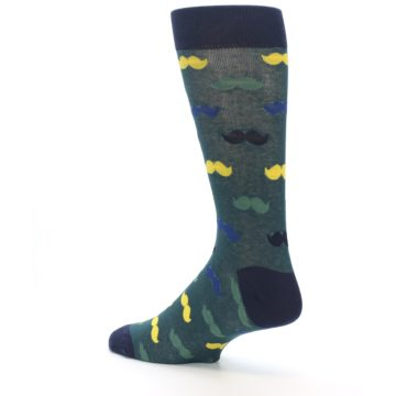 Image of Green Yellow Mustache Men's Dress Socks (side-2-back-14)