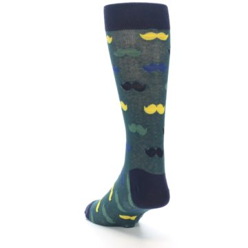 Image of Green Yellow Mustache Men's Dress Socks (side-2-back-16)