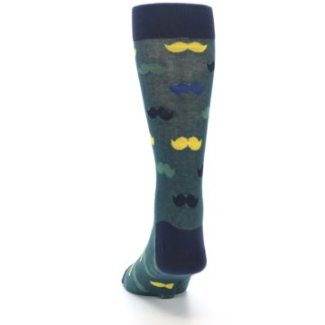 Image of Green Yellow Mustache Men's Dress Socks (back-17)