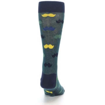 Image of Green Yellow Mustache Men's Dress Socks (back-19)
