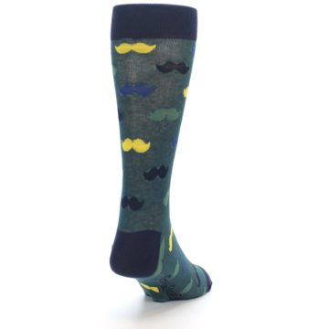 Image of Green Yellow Mustache Men's Dress Socks (side-1-back-20)