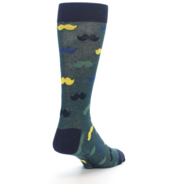 Image of Green Yellow Mustache Men's Dress Socks (side-1-back-21)