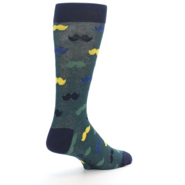 Image of Green Yellow Mustache Men's Dress Socks (side-1-back-22)