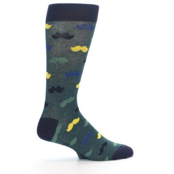 Image of Green Yellow Mustache Men's Dress Socks (side-1-24)
