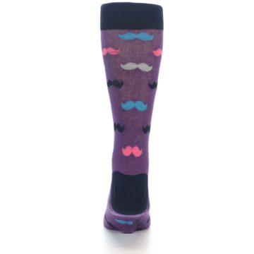 Image of Purple Pink Mustache Men's Dress Socks (back-18)