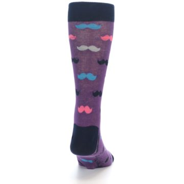 Image of Purple Pink Mustache Men's Dress Socks (back-19)