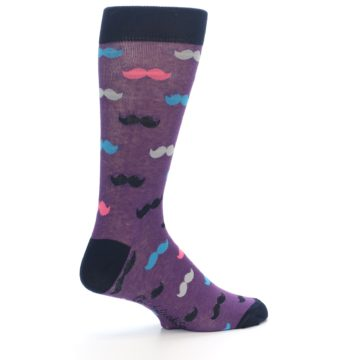 Image of Purple Pink Mustache Men's Dress Socks (side-1-23)