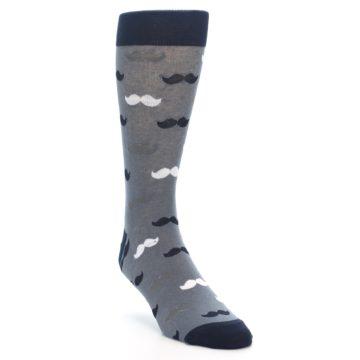Image of Grey Black White Mustache Men's Dress Socks (side-1-front-02)