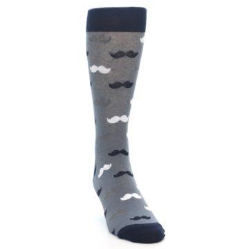 Image of Grey Black White Mustache Men's Dress Socks (side-1-front-03)