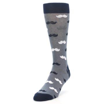 Image of Grey Black White Mustache Men's Dress Socks (side-2-front-07)