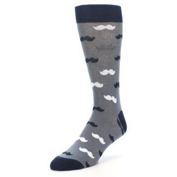 Image of Grey Black White Mustache Men's Dress Socks (side-2-front-08)