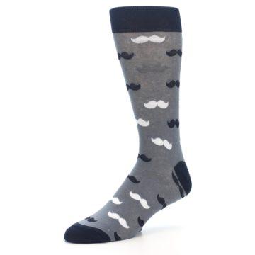 Image of Grey Black White Mustache Men's Dress Socks (side-2-09)
