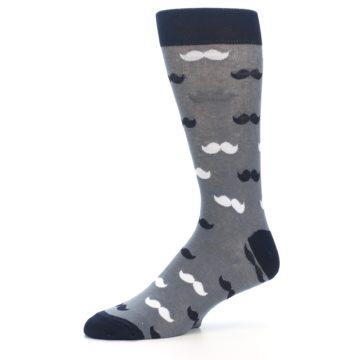 Image of Grey Black White Mustache Men's Dress Socks (side-2-10)