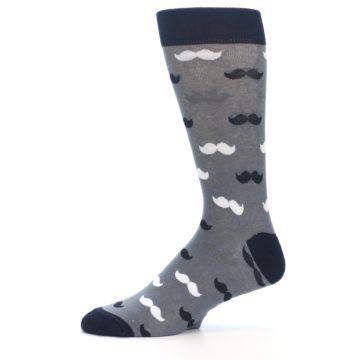 Image of Grey Black White Mustache Men's Dress Socks (side-2-11)