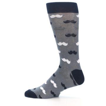 Image of Grey Black White Mustache Men's Dress Socks (side-2-12)
