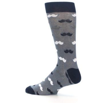 Image of Grey Black White Mustache Men's Dress Socks (side-2-13)