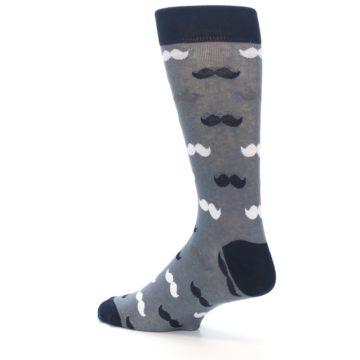 Image of Grey Black White Mustache Men's Dress Socks (side-2-back-14)